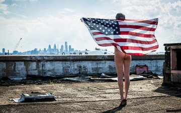 girl, flag, roof
