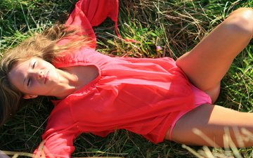 grass, girl, lies, in red