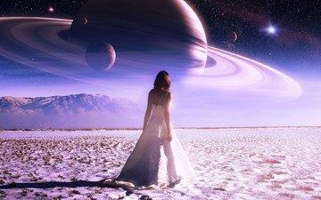 небо, горы, девушка, звезды, планета, фэнтэзи