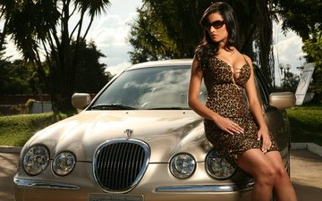 девушка, платье, машина, очки, ягуар, ягуа́р