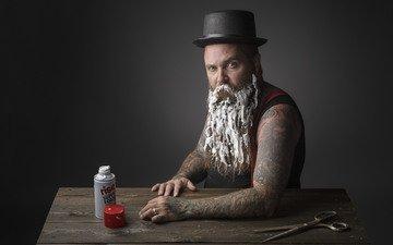 пена, ножницы, мужчина.борода