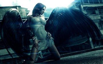 девушка, город, крылья, чёрные, 3д