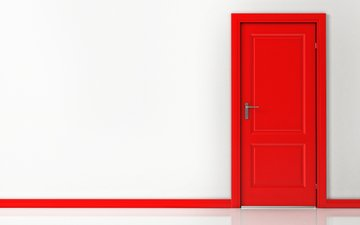 interior, red, the door