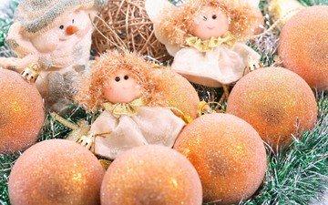 новый год, украшения, снеговик, куклы