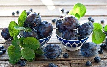 фрукты, листочки, ягоды, черника, слива, голубика