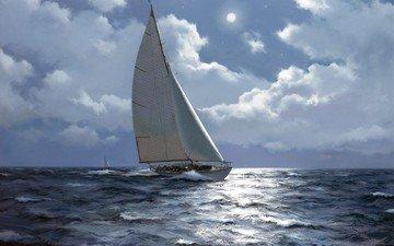 рисунок, море, корабль, живопись, художник-маринист, james brereton