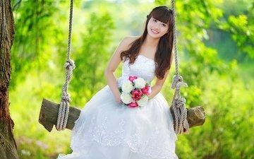 цветы, девушка, качели, азиатка, невеста