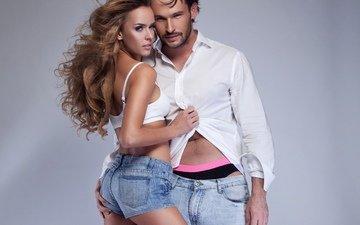 стиль, девушка, парень, рубашка, шорты, джинсы. k