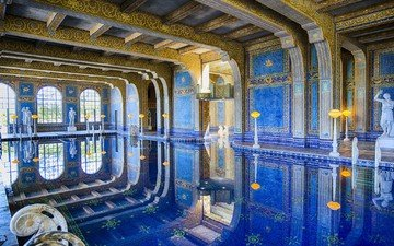 reflection, pool, architecture, sculpture, ca, hearst castle