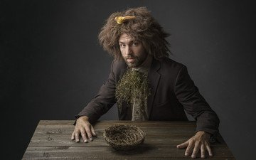 стиль, портрет, взгляд, лицо, мужчина, гнездо