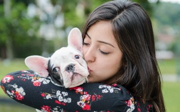 girl, dog, friendship, french bulldog