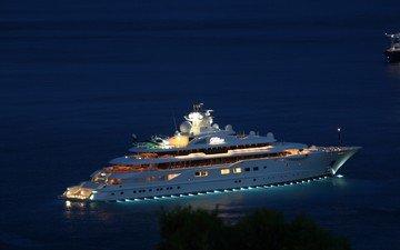 ночь, огни, море, яхта, супер-яхта, моторная