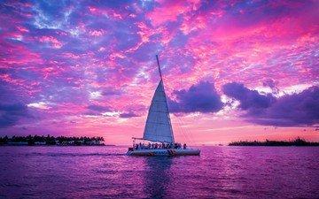 небо, облака, озеро, закат, яхта, парус