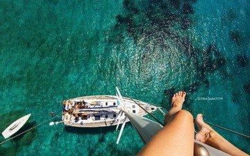 фото, море, лето, высота, яхта, ножки