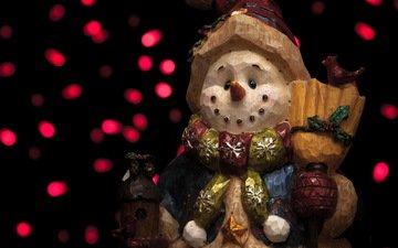 фон, игрушка, снеговик, праздник