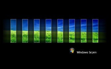 nature, logo, black background, windows 7, rectangles