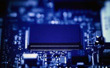 синий, элементы, схема, компьютер, процессор, электроника, боке, центральный процессор, материнская плата, yuri samoilov