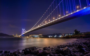 night, lights, china, hong kong, bridge tsing ma bridge