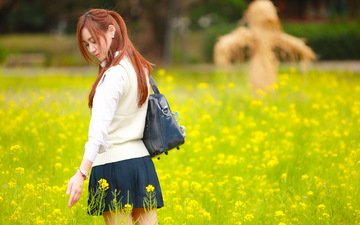 flowers, girl, summer, meadow, asian