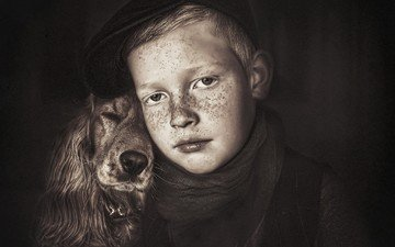 dog, children, boy, friendship, friends