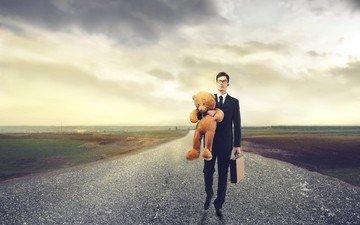 дорога, мишка, костюм, мужчина, подарок, портфель