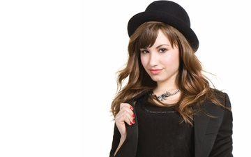 девушка, взгляд, волосы, лицо, актриса, певица, шляпа, деми ловато