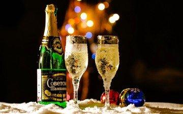 новый год, бокалы, праздник, шампанское, огоньки