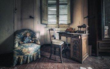 интерьер, кукла, комната, кресло