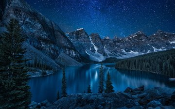 night, lake, river, mountains, nature, forest