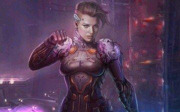 арт, космос, девушка, воин, фантазия, будущее, доспехи, shin500