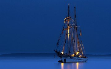 night, lights, sea, ship