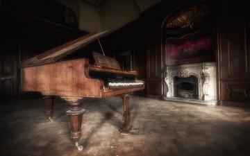 интерьер, фон, музыка, комната, пианино