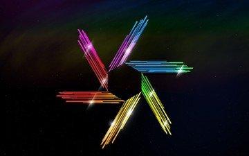 абстракция, цвет, звезда, черный фон, кристаллы, шестигранник