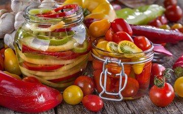 овощи, помидоры, банки, паприка, консервирование, заготовки