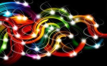 полосы, арт, огни, абстракция, линии, завитки, черный фон, цветные, 3д