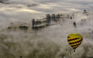 landscape, fog, sport, balloon