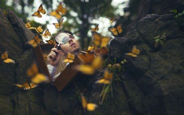 background, guy, butterfly, male, magnifier
