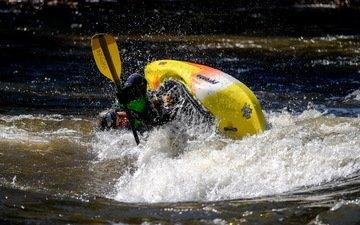 water, stream, boat, sport, male