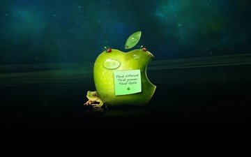 drops, frog, apple, sticker