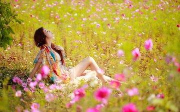 цветы, девушка, настроение, лето, азиатка