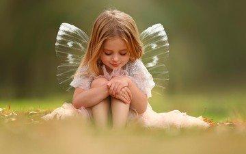 дети, девочка, фея, крылышки