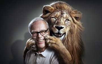фон, улыбка, радость, хищник, мужчина, лев