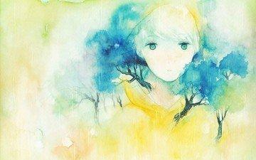 art, figure, trees, girl, portrait, face, watercolor