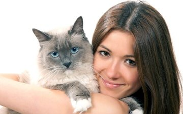 girl, smile, cat, friendship, hugs
