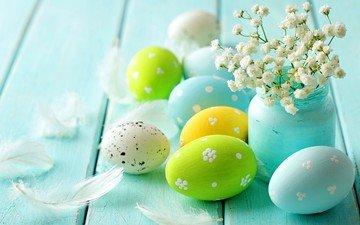 цветы, весна, перья, пасха, яйца