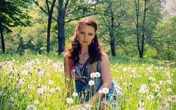девушка, парк, лето, взгляд, одуванчики, газон