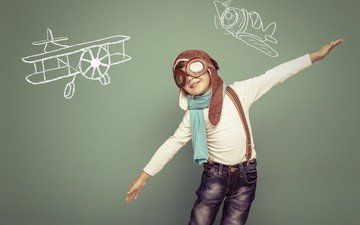 pilot, glasses, aircraft, children, drawings, hat, boy