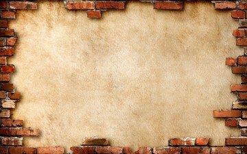 фон, стена, кирпич, коричневый