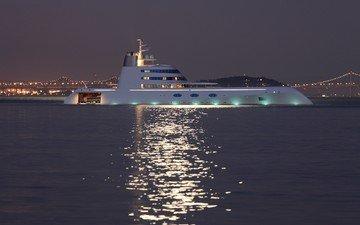 ночь, огни, море, яхта, супер-яхта
