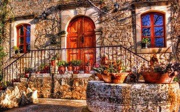 цветы, дверь, дом, окно, hdr, фасад, крыльцо